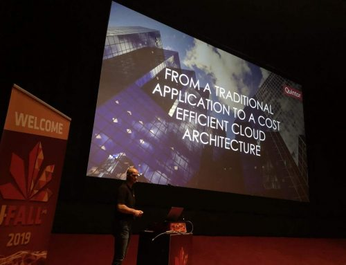 Pascal Snippen geeft presentatie op J-Fall: 'From a traditional application to a cost efficient cloud architecture'